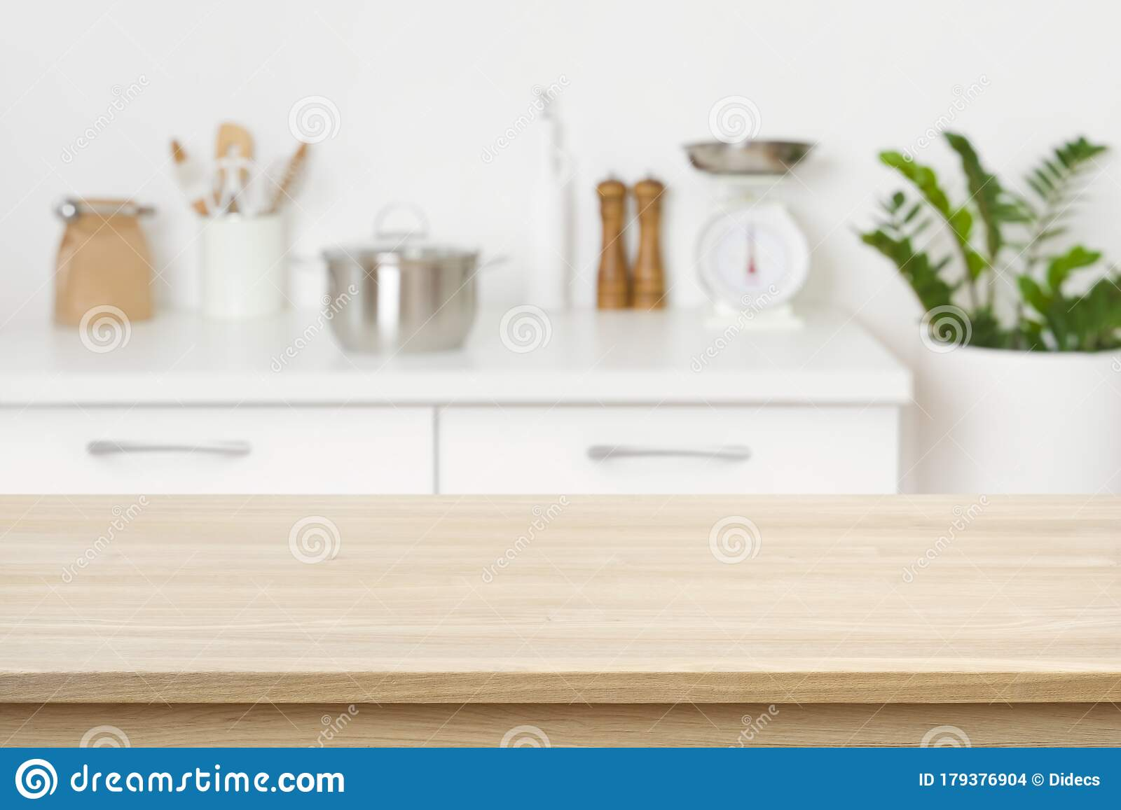 table background of free space on blurred kitchen counter
