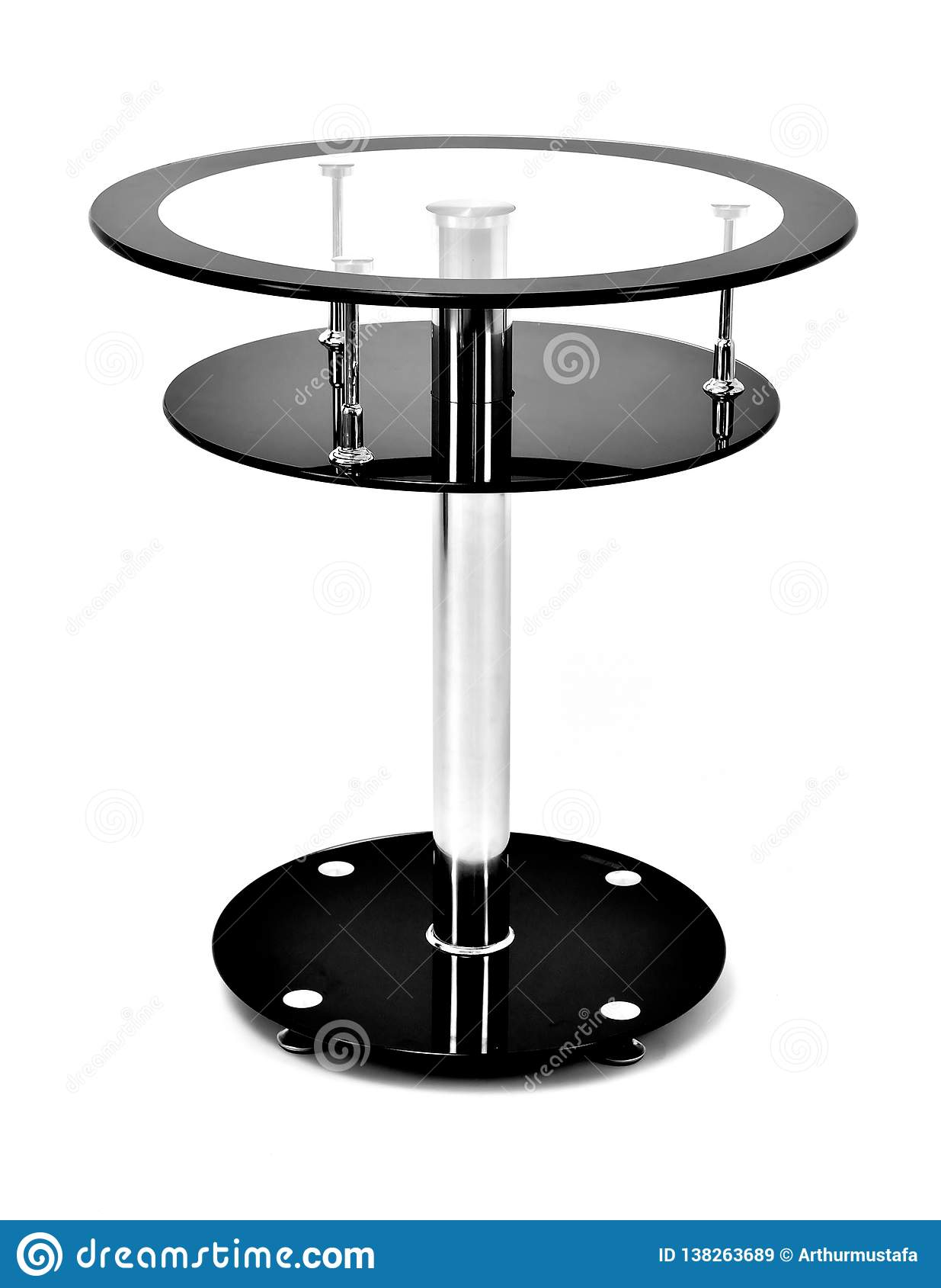 Table Basse Ronde En Verre Noire Avec Un Appui En Aluminium De