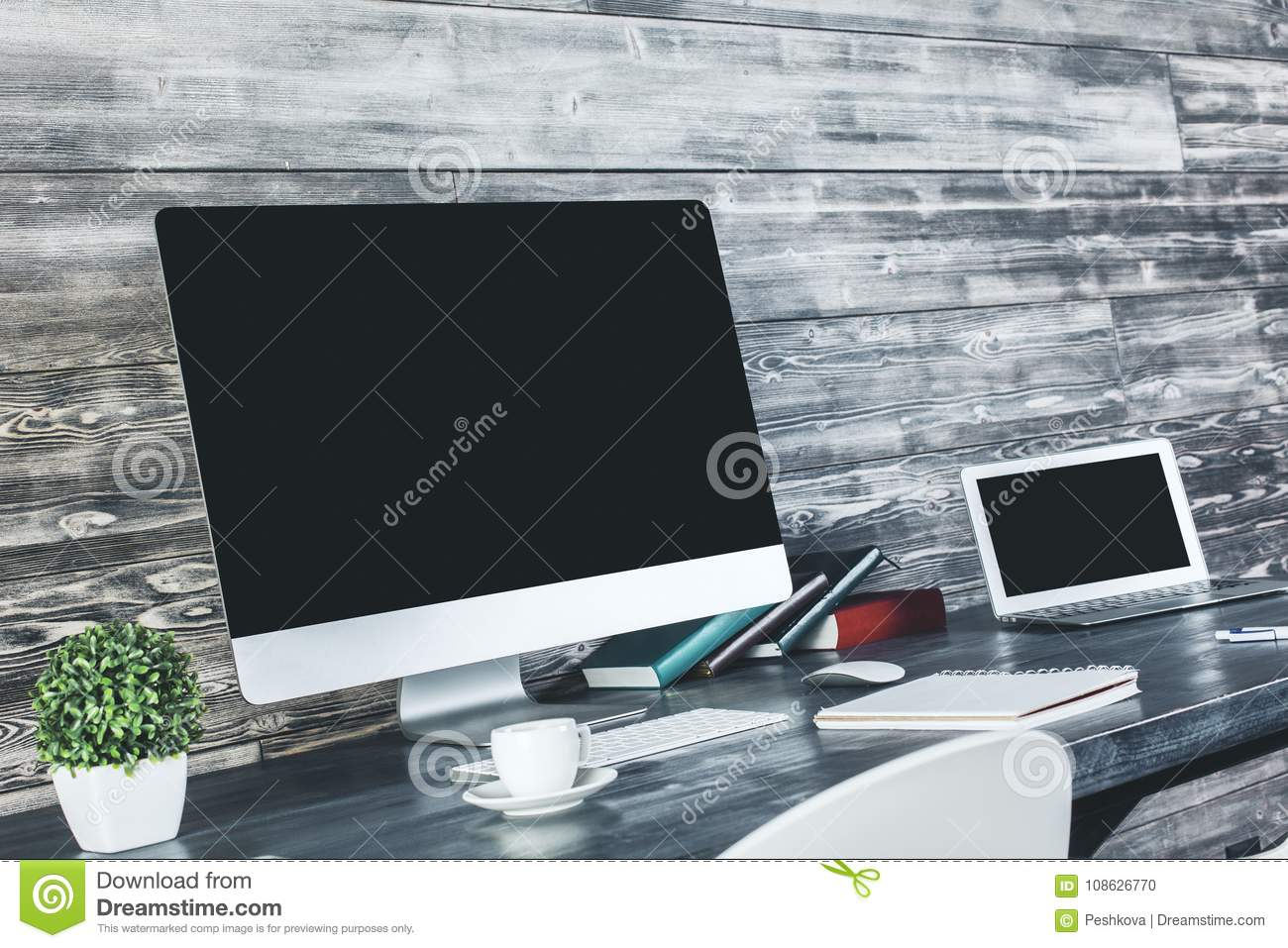 table with blank computer side stock photo image of empty frame