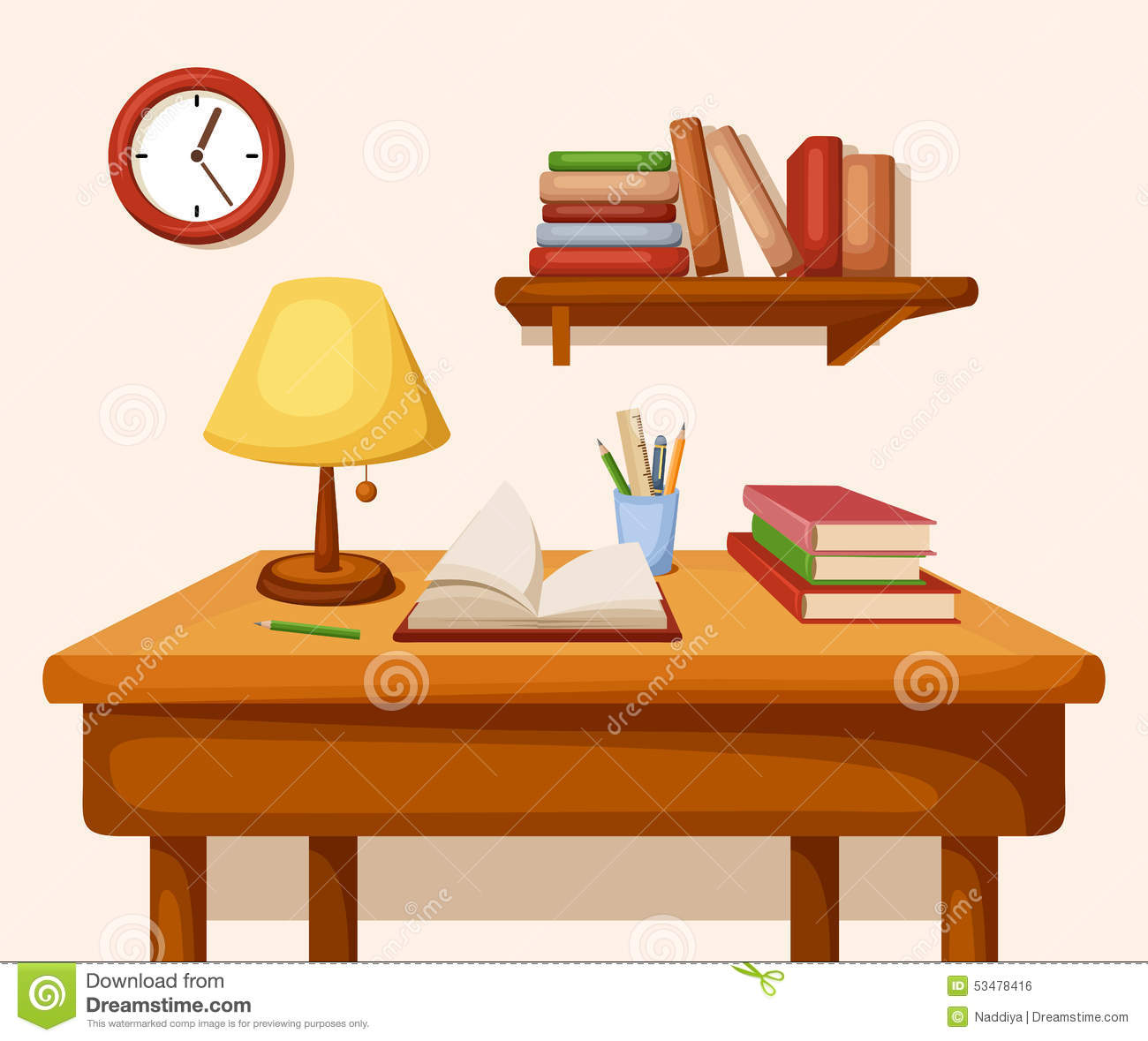 Table with books and lamp on it shelf and clock vector interior table with books and lamp on it shelf and clock vector interior geotapseo Image collections