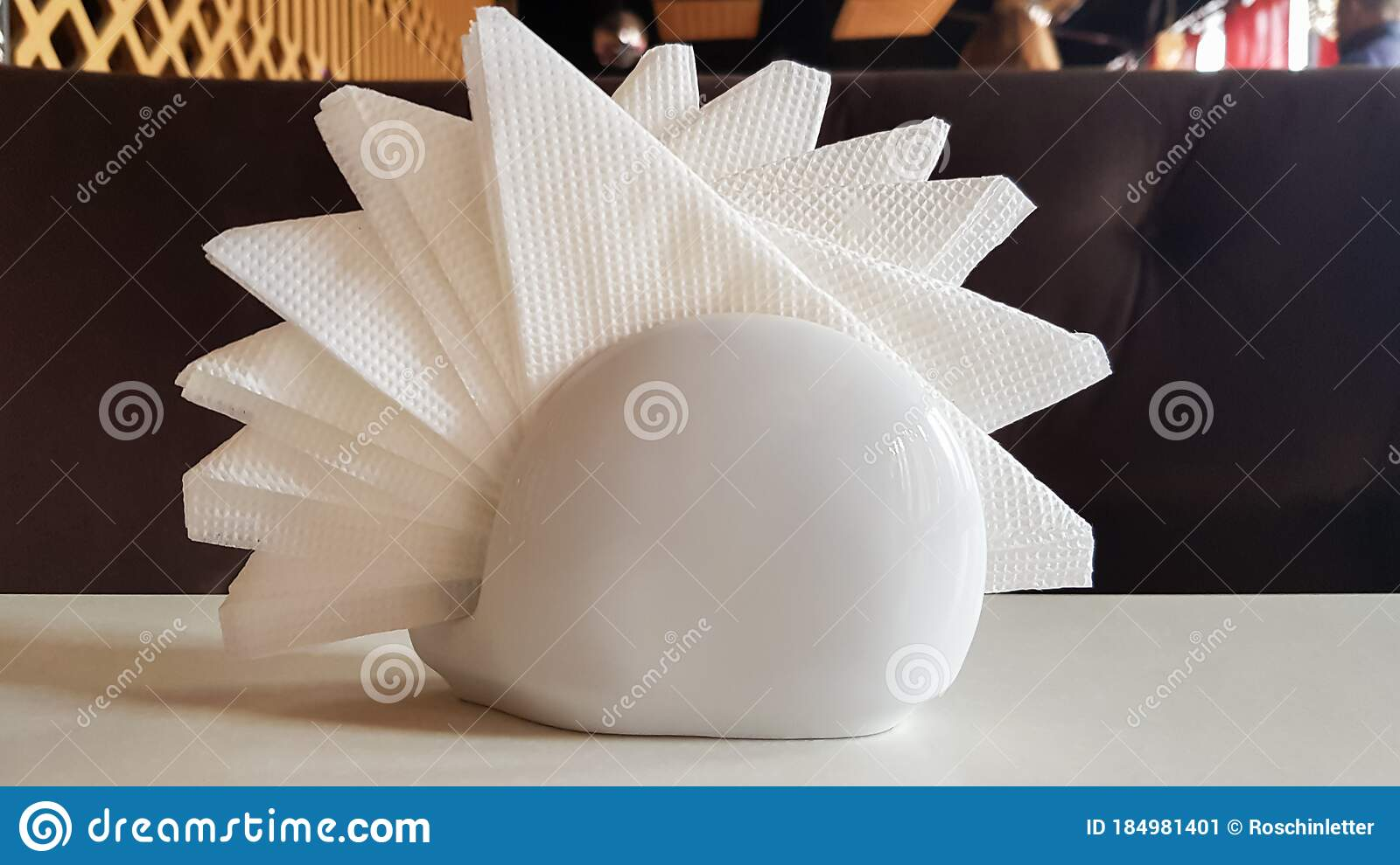 A Table In A Cafe And Restaurant White Napkins In A Ceramic Napkin Holder Hotel Dining Table With Napkins A Paper Napkin Is Stock Image Image Of Porcelain Decor 184981401