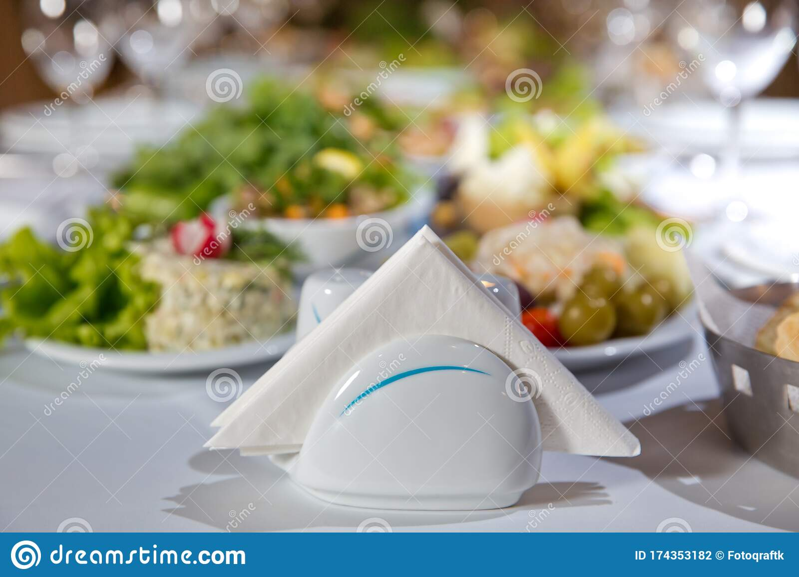 A Table In A Cafe Or Restaurant White Napkins In A Metal Napkin Holder Spices Salt And Pepper On A Woodeglass Table Panoramic Stock Photo Image Of Fancy Knife 174353182