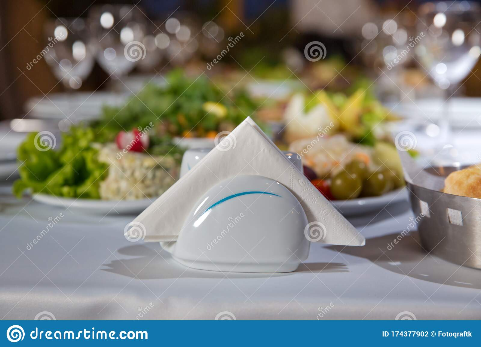A Table In A Cafe Or Restaurant White Napkins In A Metal Napkin Holder Spices Salt And Pepper On A Woodeglass Table Panoramic Stock Photo Image Of Cloth Banquet 174377902