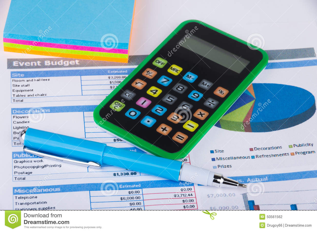 Table With Calculation Of Budget Event Stock Photo Image