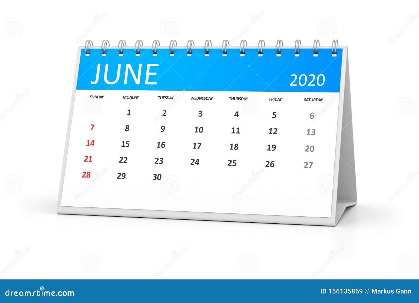 June 23 2020 Events.Table Calendar 2020 June Stock Illustration Illustration Of