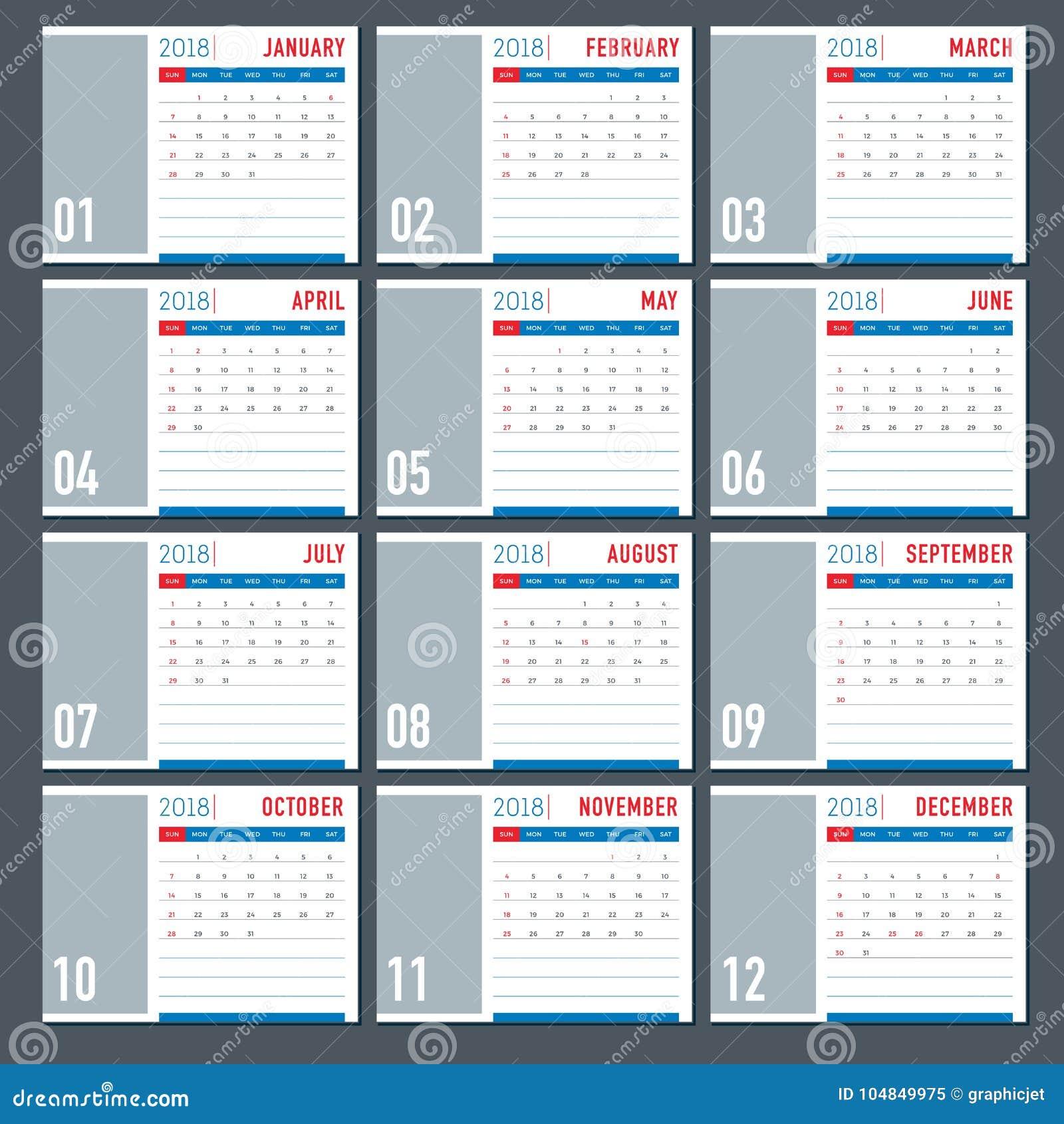 Table 2018 calendar template layout stock vector illustration of table 2018 calendar template layout saigontimesfo
