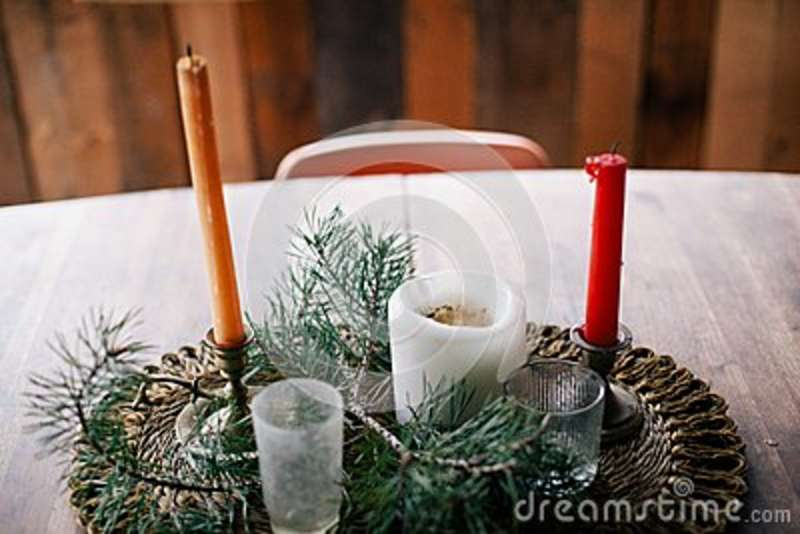 Download Table Center Piece With Candles Stock Image - Image of photo, candles: 83014499