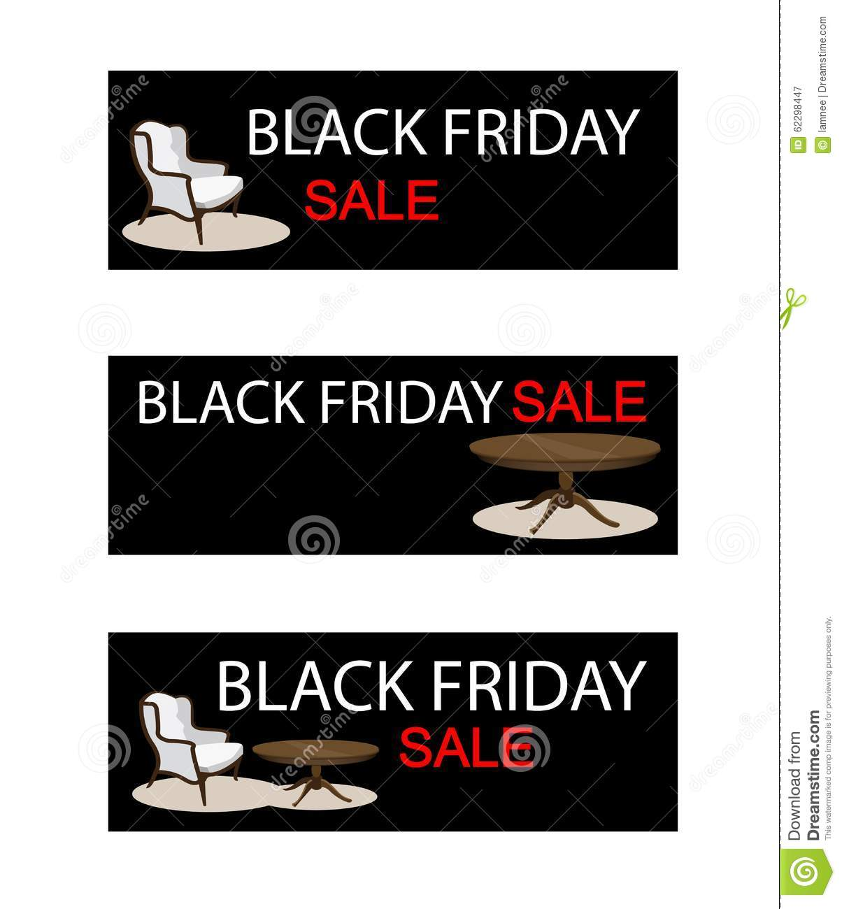 Table And Chair On Black Friday Sale Banner Stock Vector