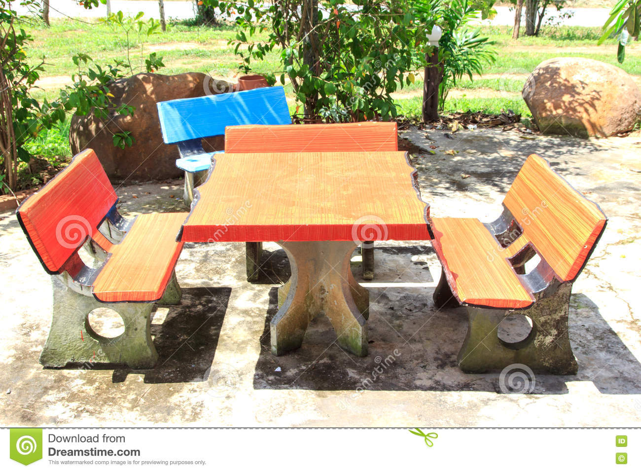 Download Table And Chair Cement Stock Photo. Image Of Outdoors   73690432