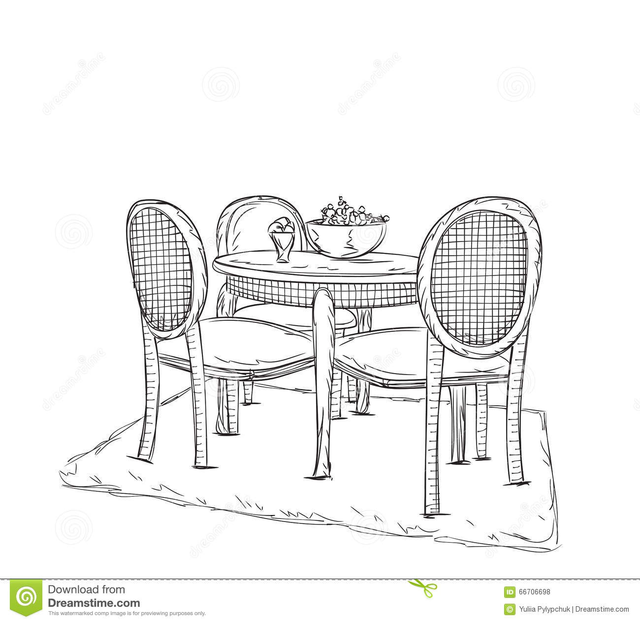Chair Sketch table and chair sketch. dinner in the home. stock vector - image