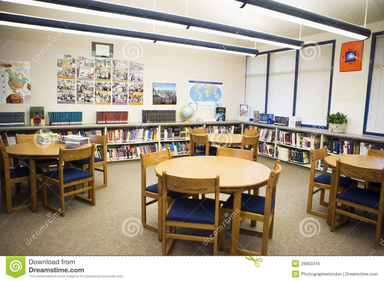 Table And Chairs Arranged In High School Library Royalty Free Stock Image I