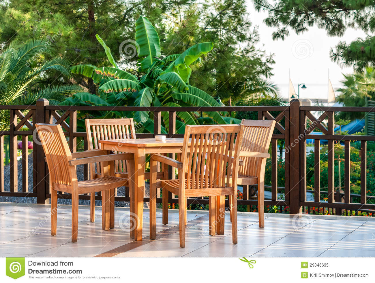 table and chairs in a restaurant cafe terrace stock image image 29046635. Black Bedroom Furniture Sets. Home Design Ideas