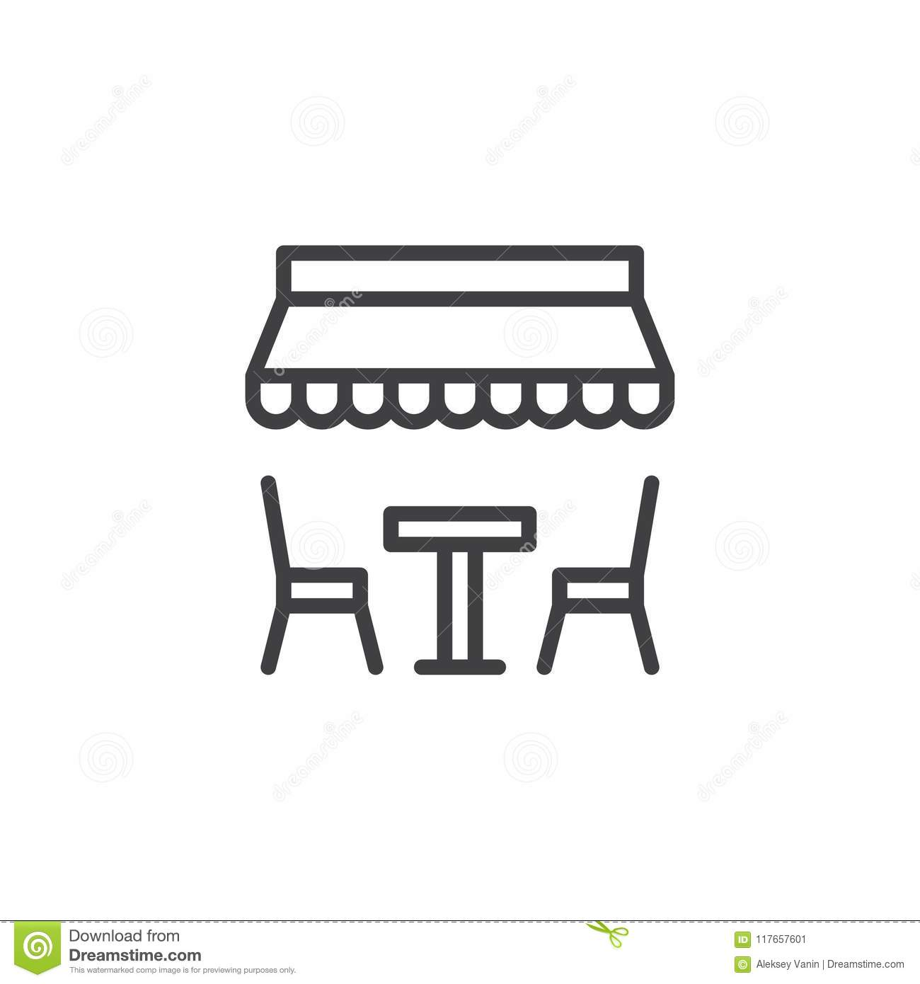 Miraculous Table And Chairs Under Umbrella Outline Icon Stock Vector Cjindustries Chair Design For Home Cjindustriesco