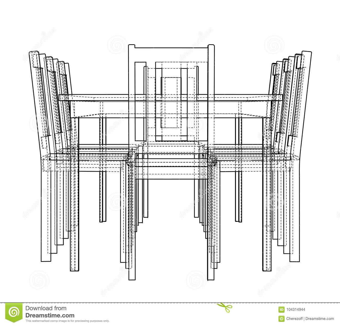 Table With Chairs  Vector Rendering Of 3d Stock Vector