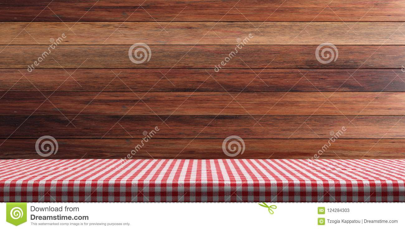 Table covered with red tablecloth on wooden wall background, copy space. 3d illustration