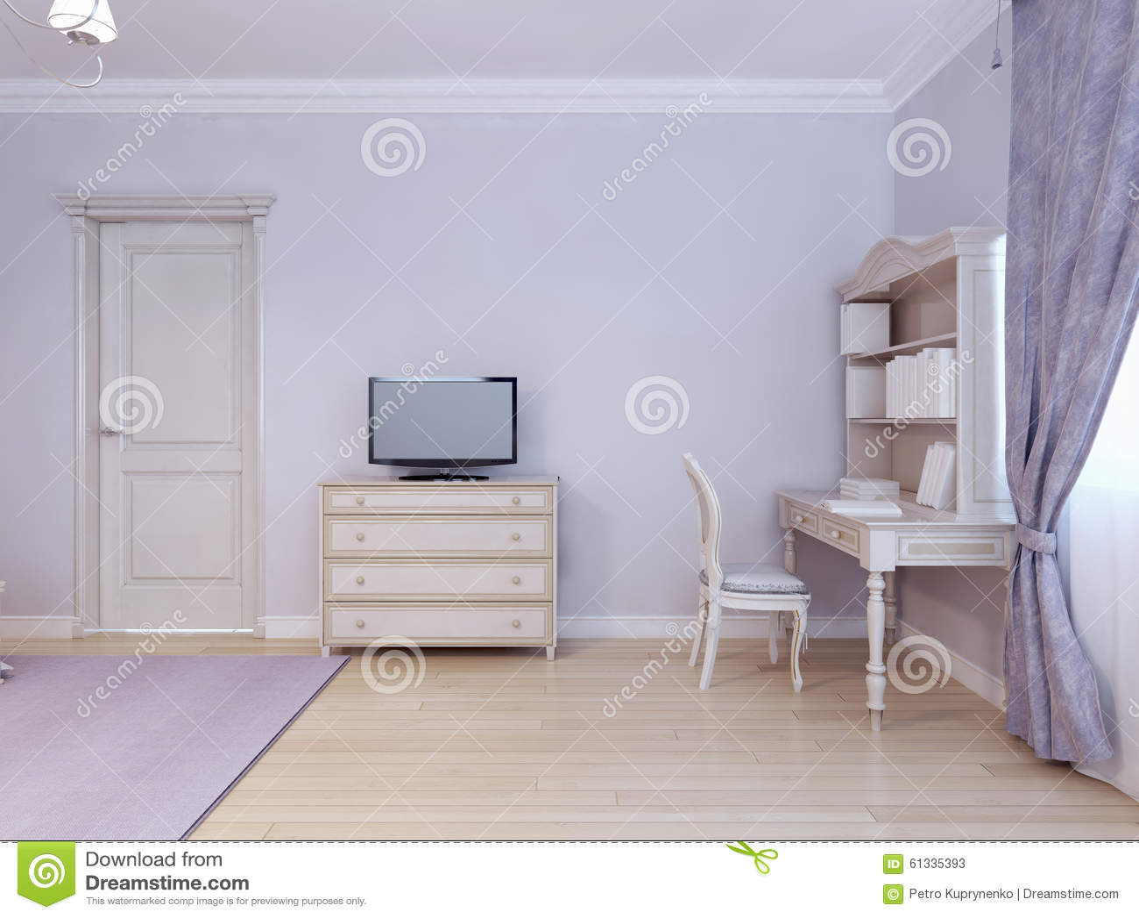 Table de bureau et tv dans la chambre denfant illustration stock