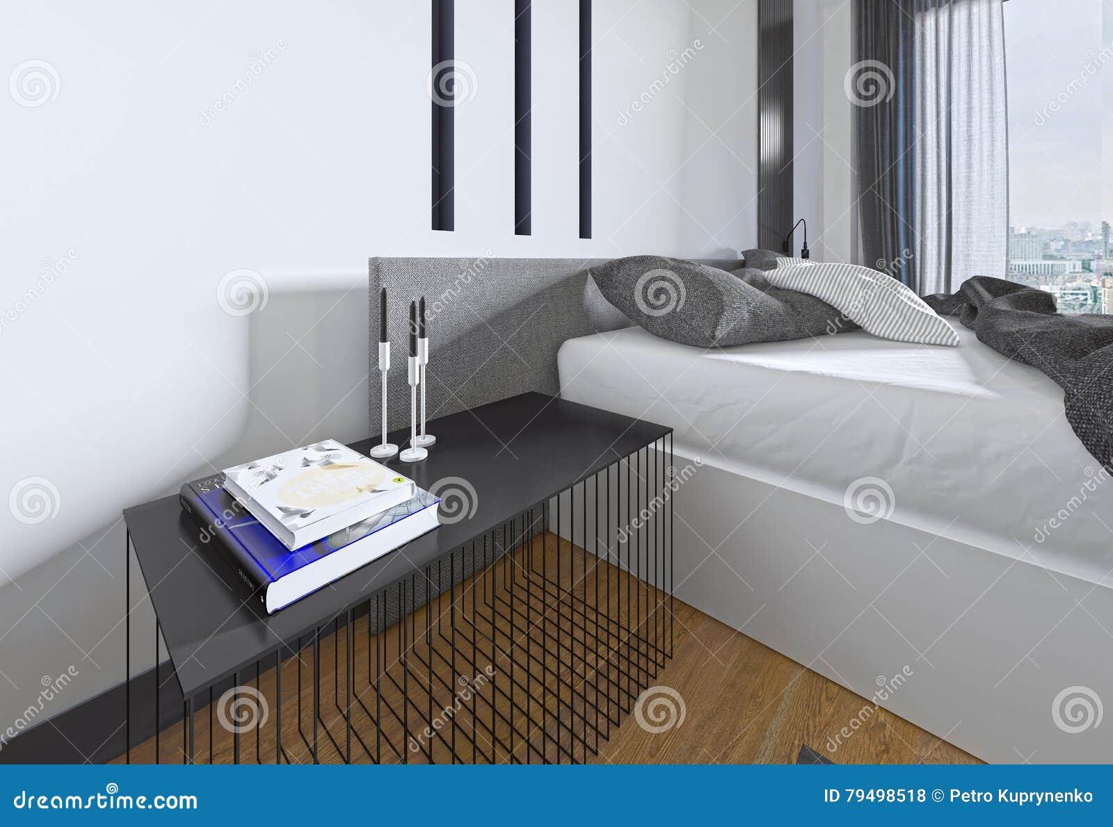Table De Chevet De Concepteur Avec Le Decor Dans Une Chambre A