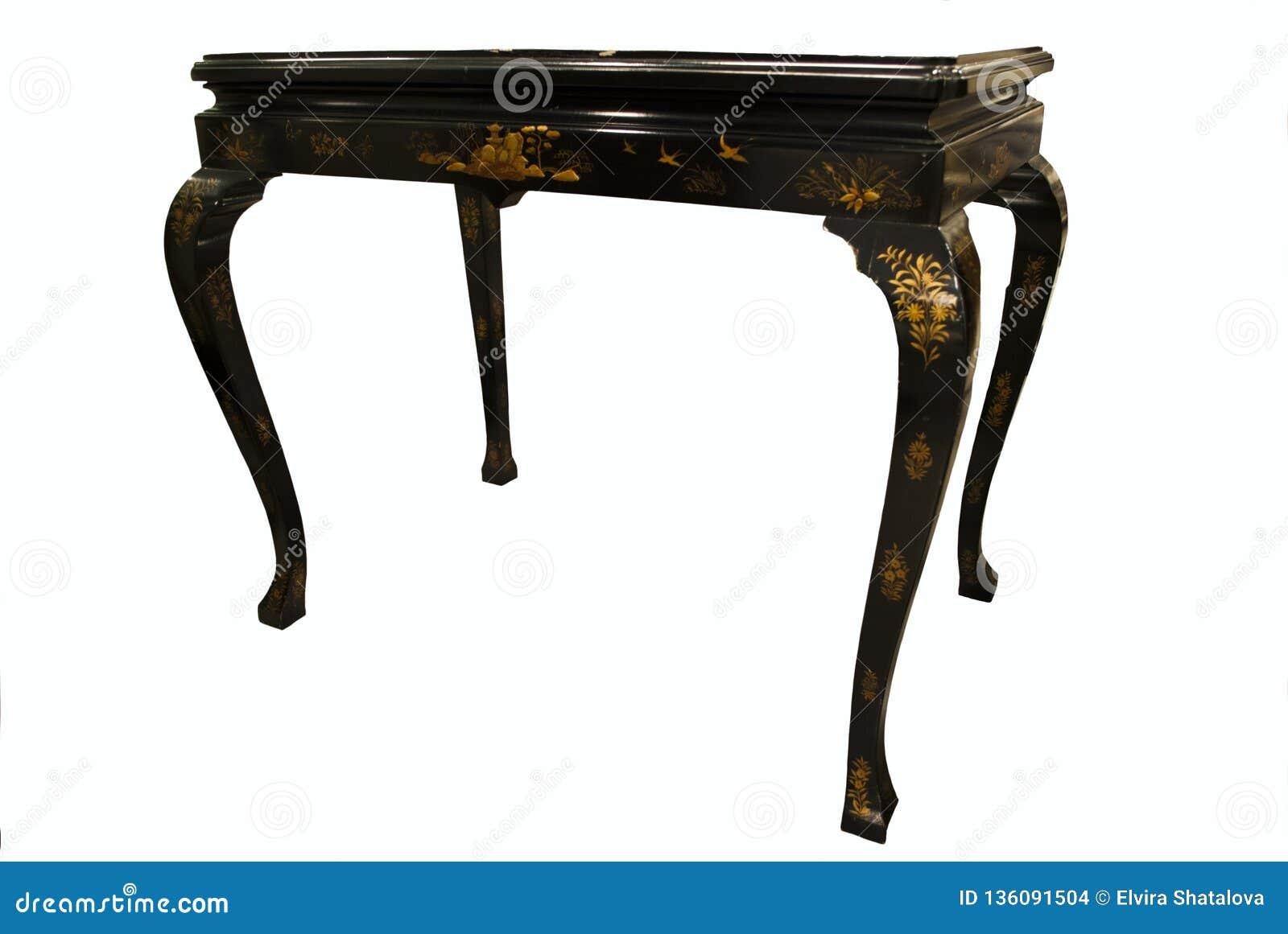Table de cru d isolement sur le blanc Rétro meuble, brun foncé, avec le laque-travail oriental