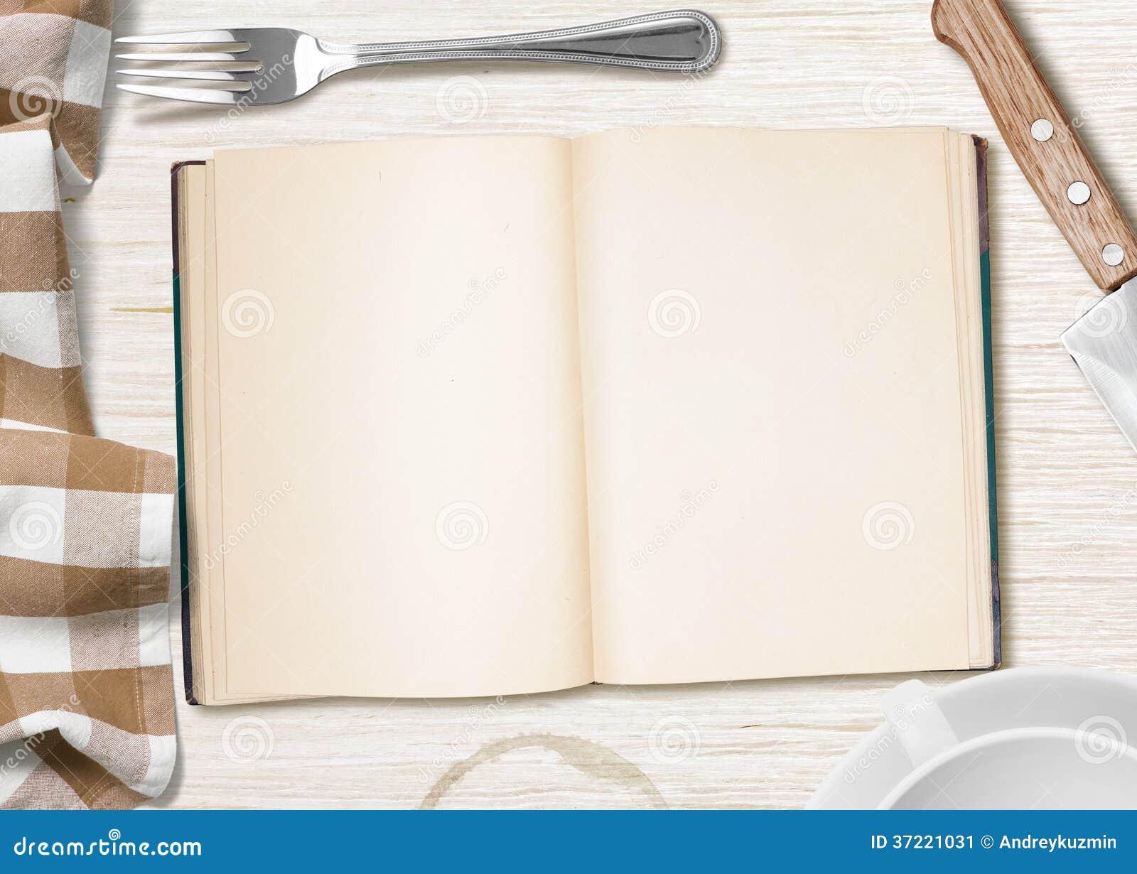 table de cuisine avec le livre ouvert ou cahier pour faire cuire la recette image stock image. Black Bedroom Furniture Sets. Home Design Ideas