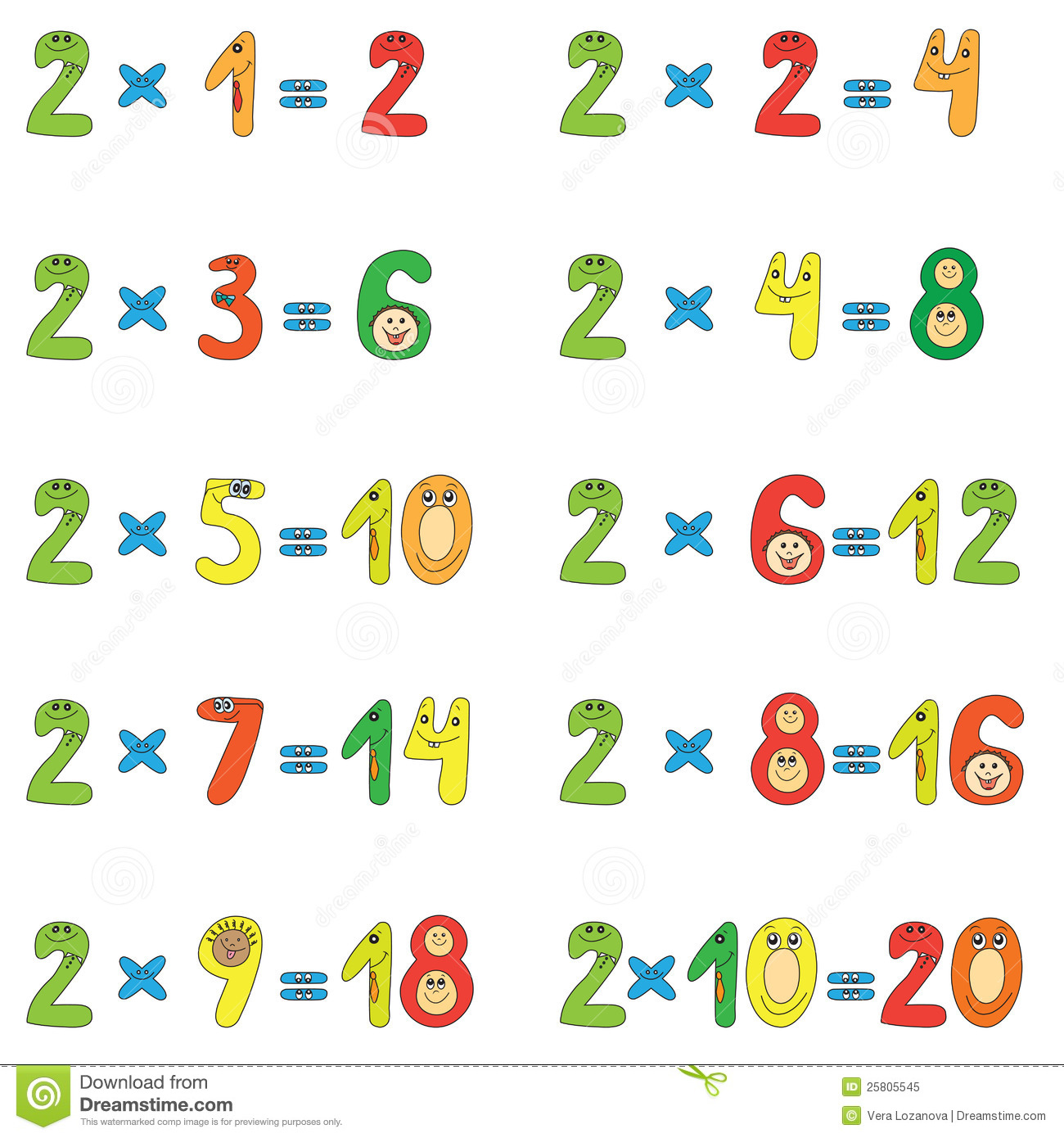 Exercice multiplication table 2 3 4 5 fiches d exercices for Table de multiplication de 2 a 9