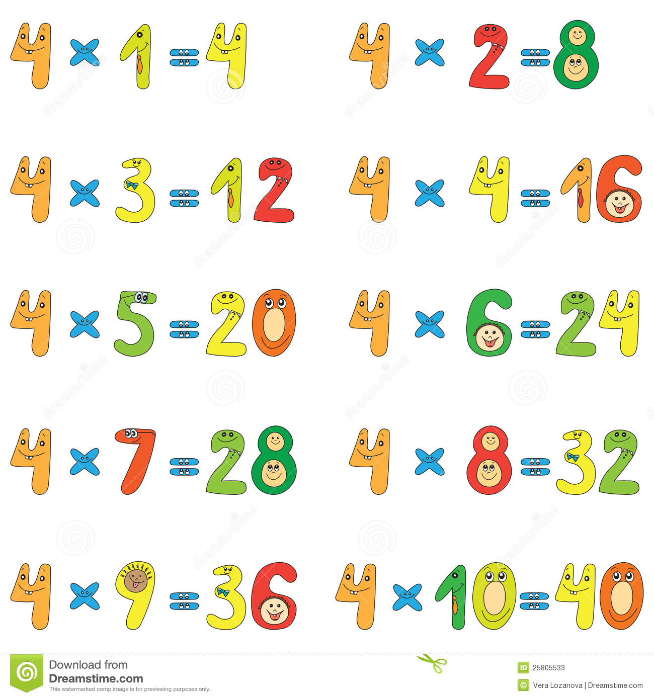table de multiplication de 4 photos stock image 25805533