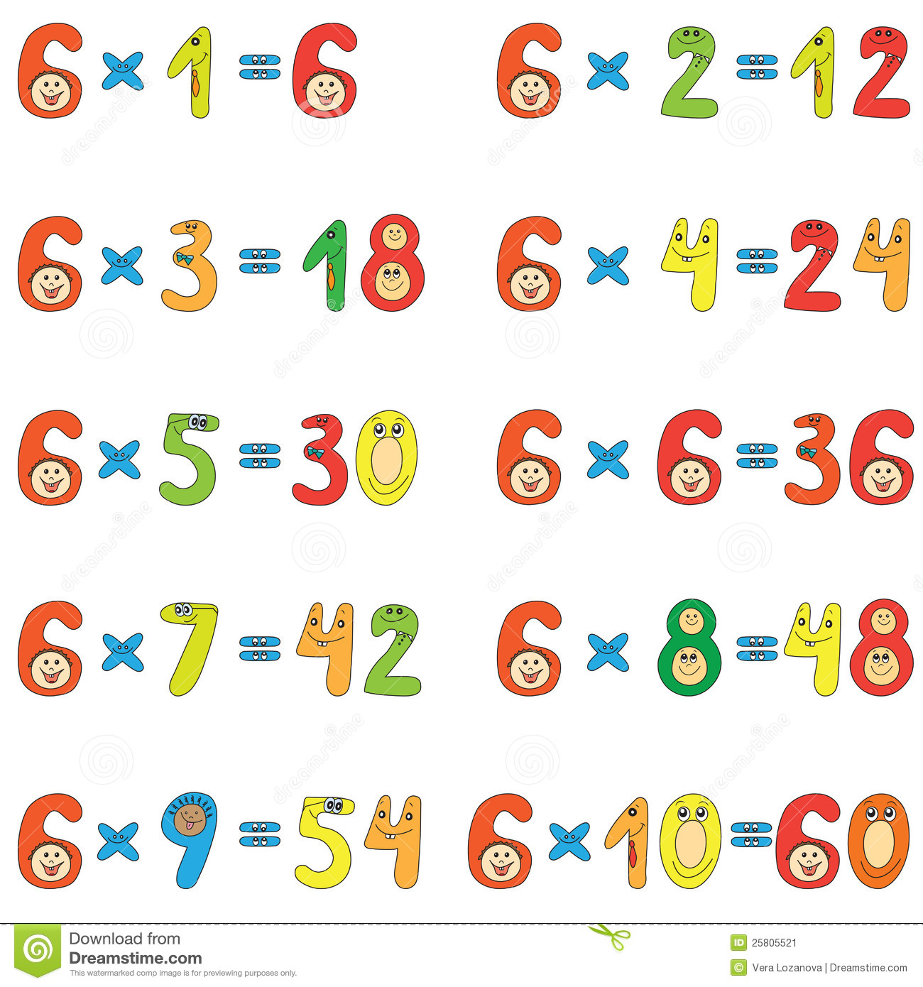 table de multiplication de 6 illustration de vecteur