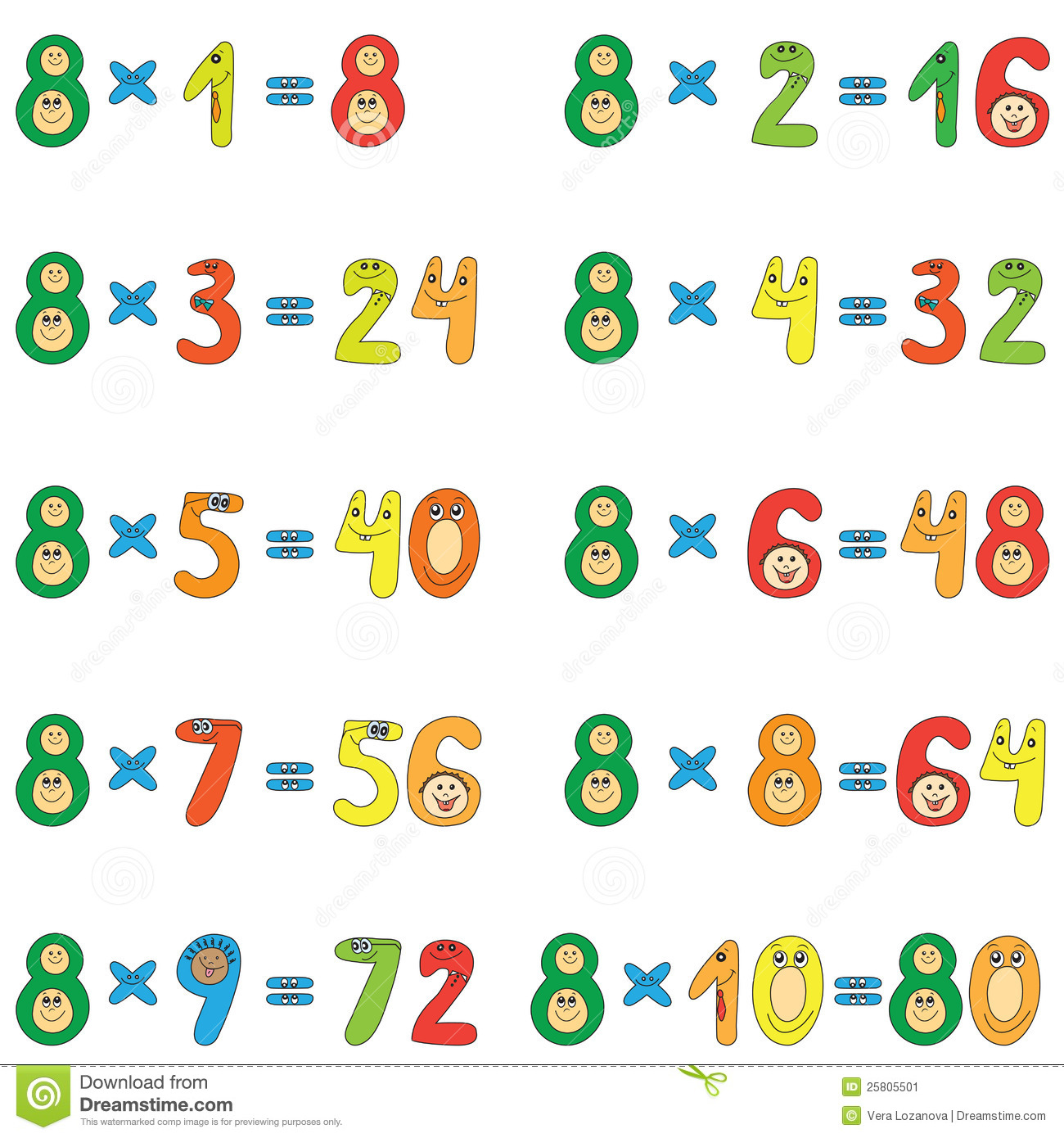 Table de multiplication de 8 illustration de vecteur - Table de multiplication matou matheux ...