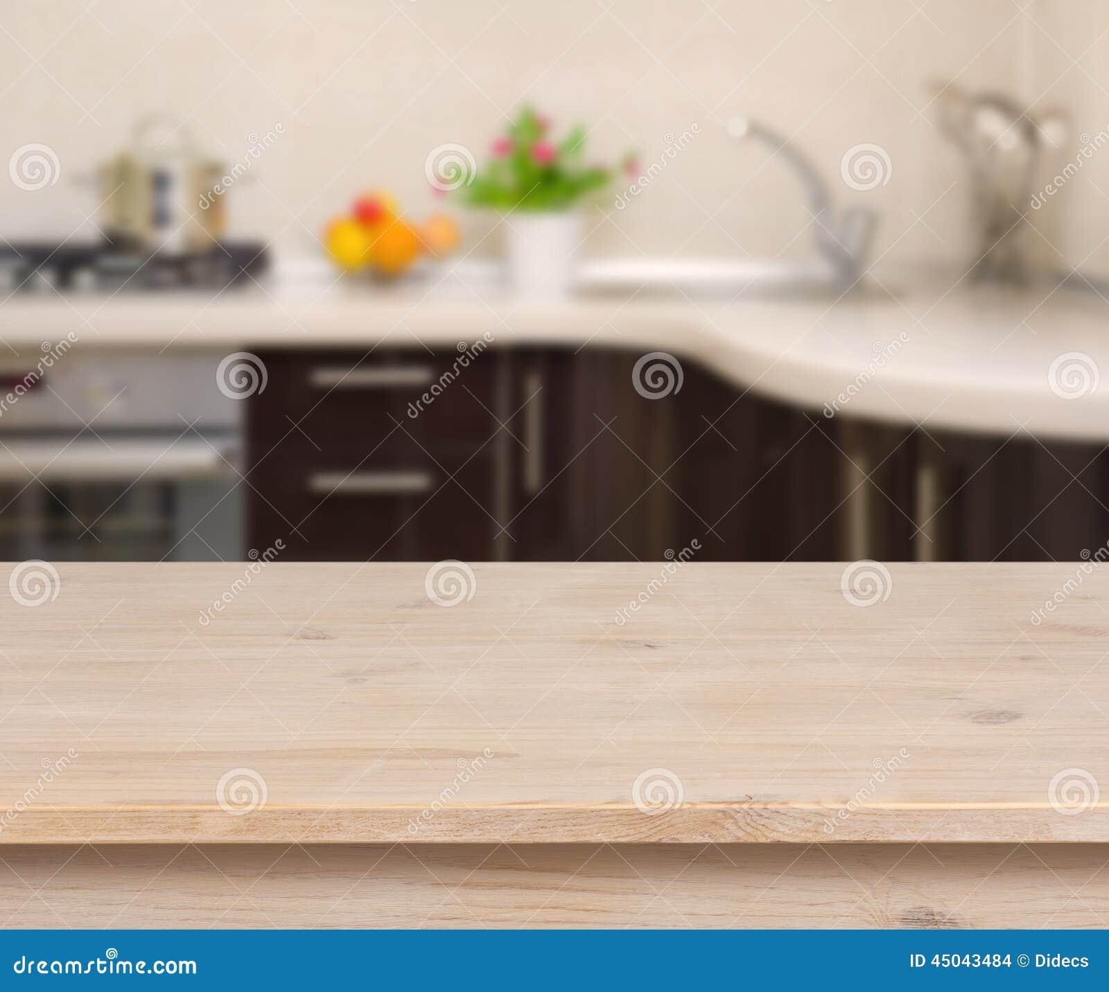 Table de petit déjeuner sur le fond d intérieur de cuisine
