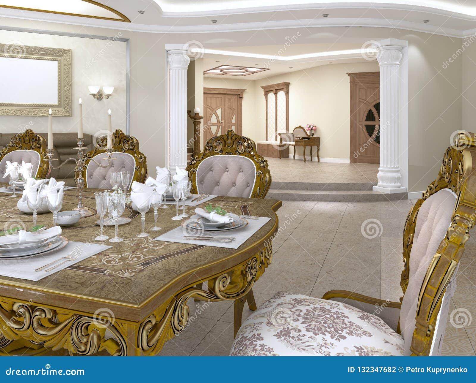 Table De Salle à Manger Avec Les Chaises Baroques De Style ...
