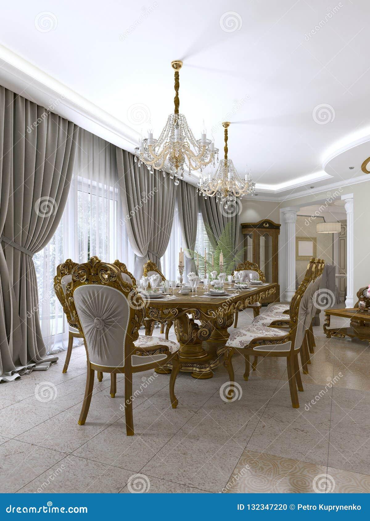Table De Salle A Manger Classique Moderne Dans Un Salon Baroque