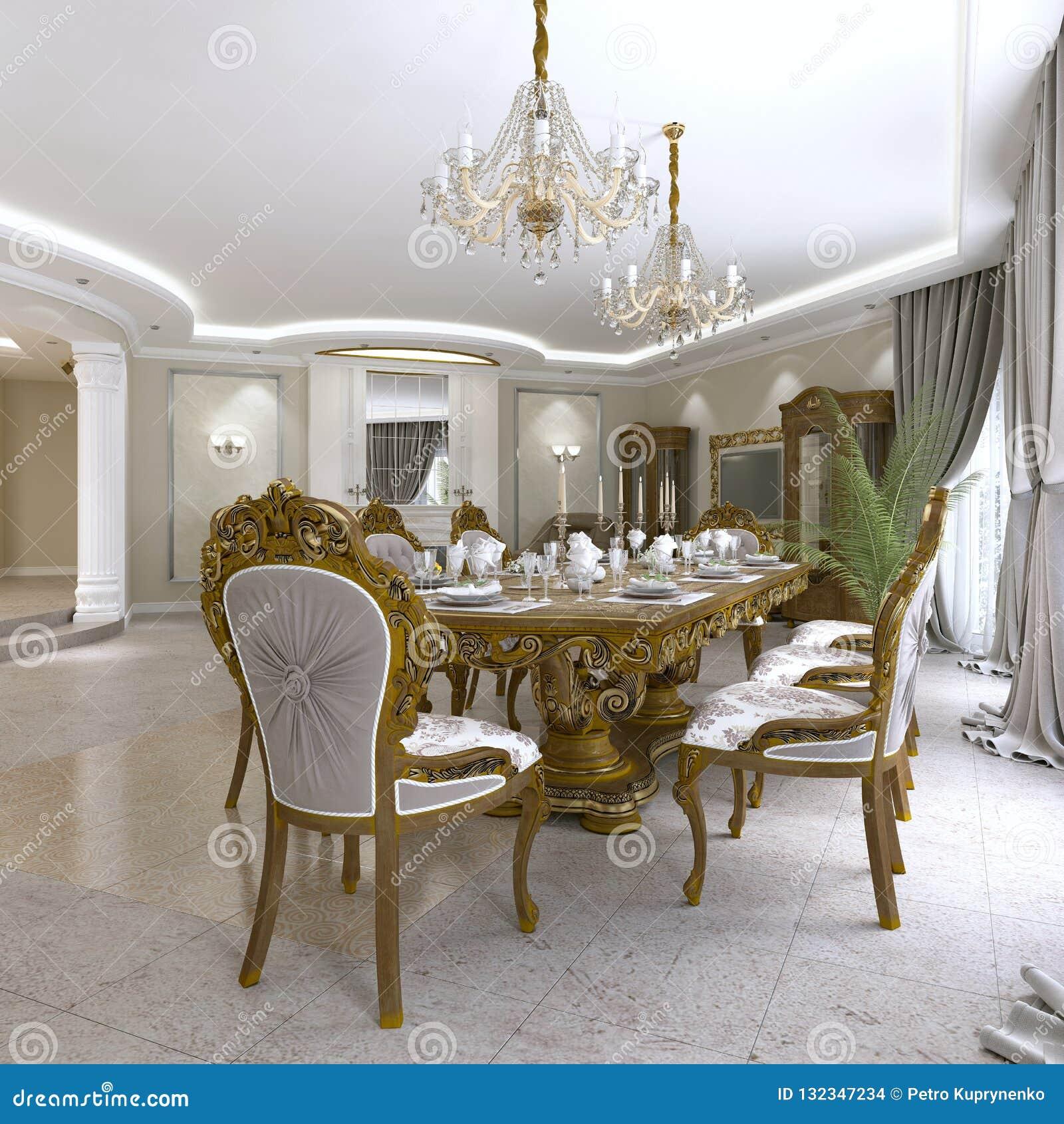 Table De Salle à Manger Classique Moderne Dans Un Salon ...