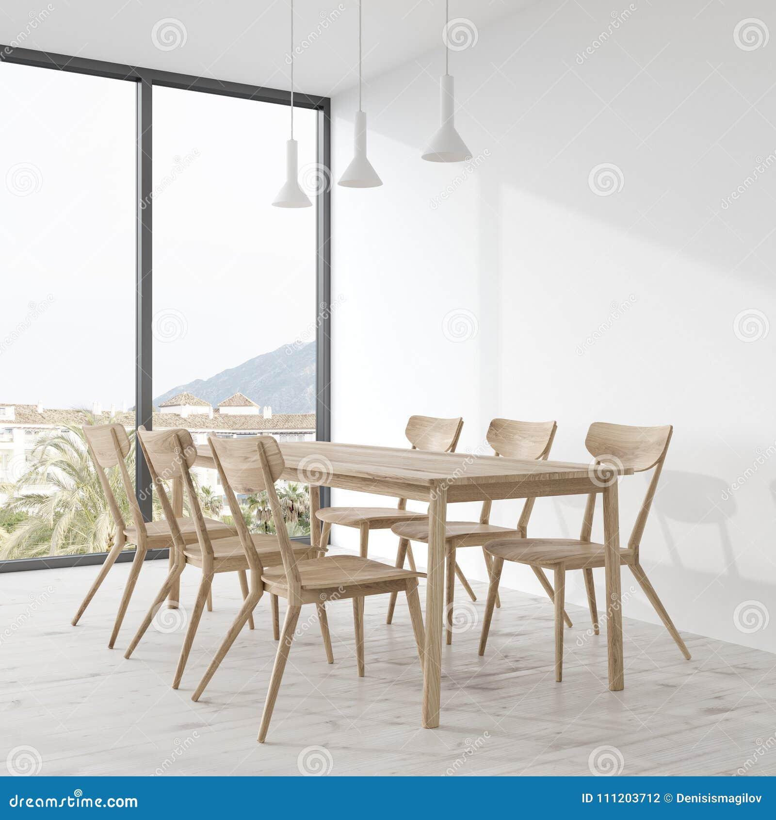 Longue Table De Salle à Manger En Bois Avec Les Chaises En Bois Se Tenant  Dans Un Coin Vide De Pièce Blanche Moquerie Du Rendu 3d