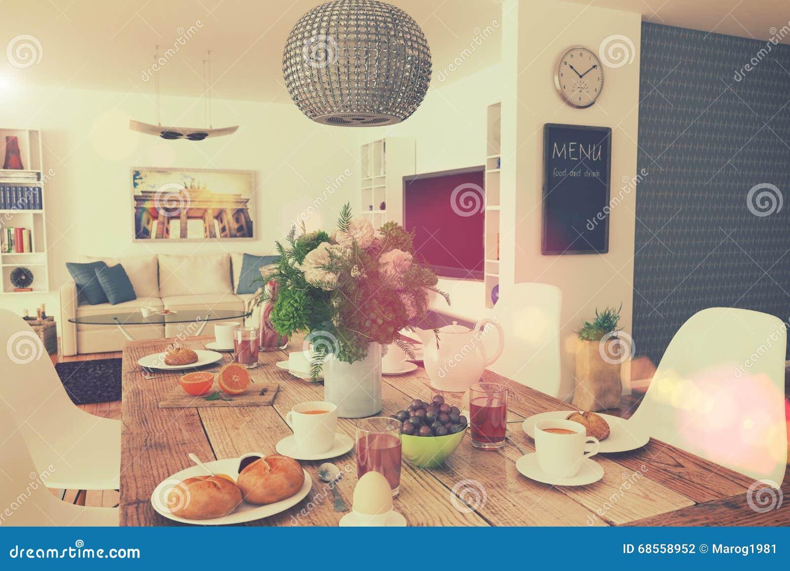 Salle A Manger Retro table de salle à manger - petit déjeuner - 01 tirés - rétro