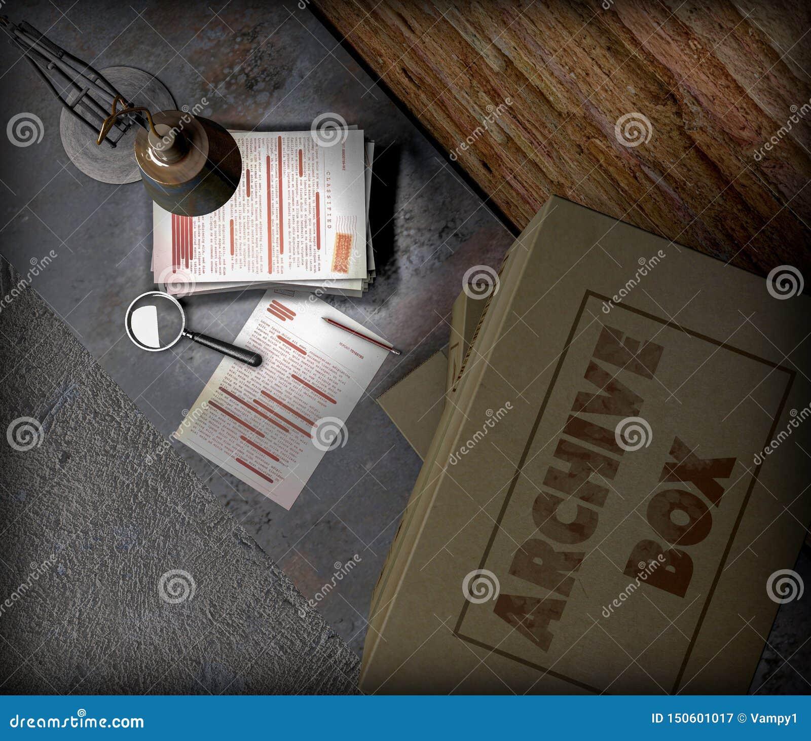 Table de sous-sol avec les boîtes et le dossier extrêmement secret Lampe de Tableau, loupe et crayon Feuilles et documents import
