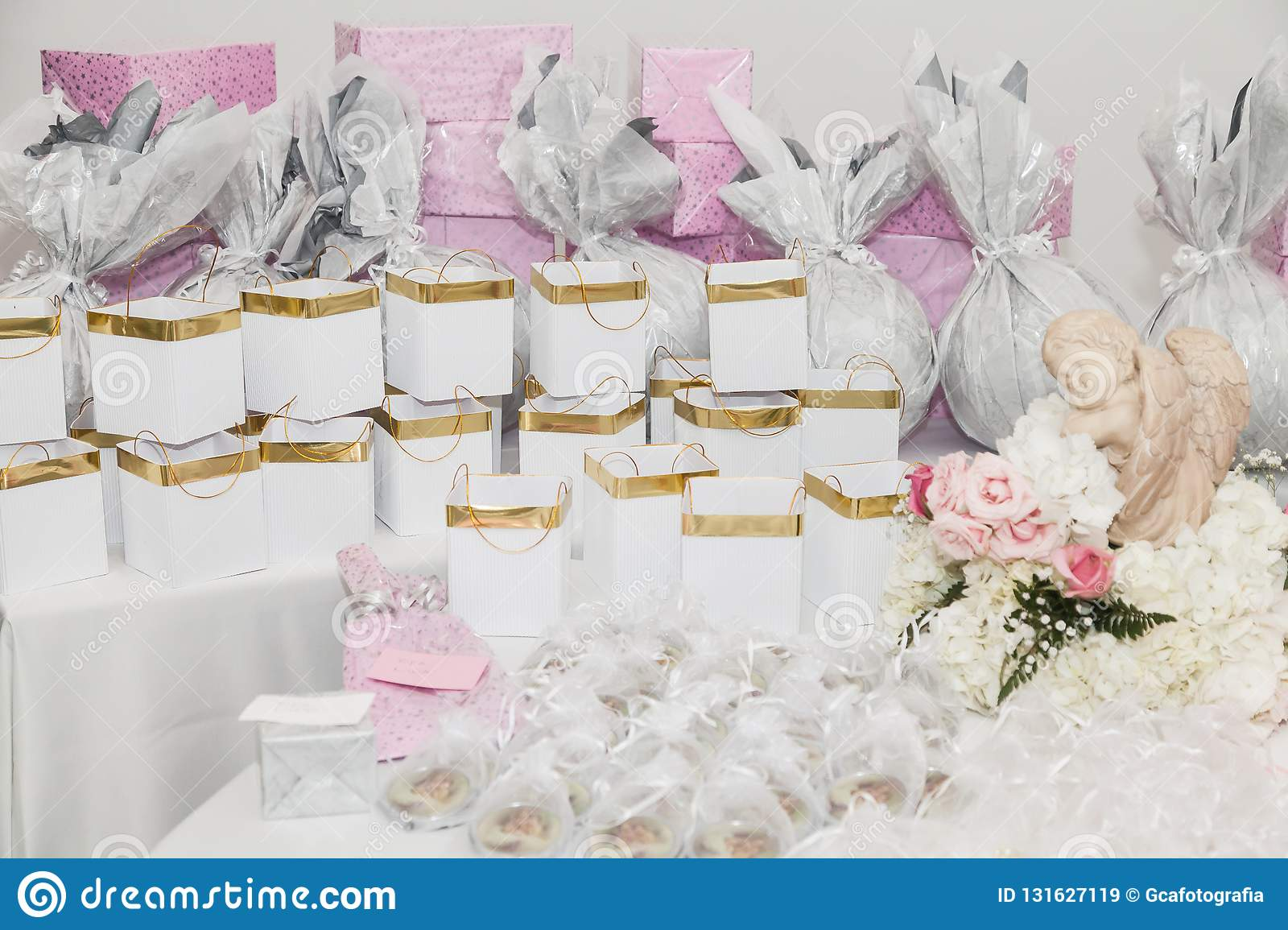 Table Decorated With Gifts For Guests At The Reception Stock Image