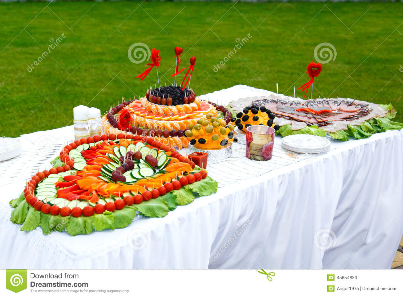 Royalty Free Stock Photo. Download Table Decorated With Hearts Of Fruit ...
