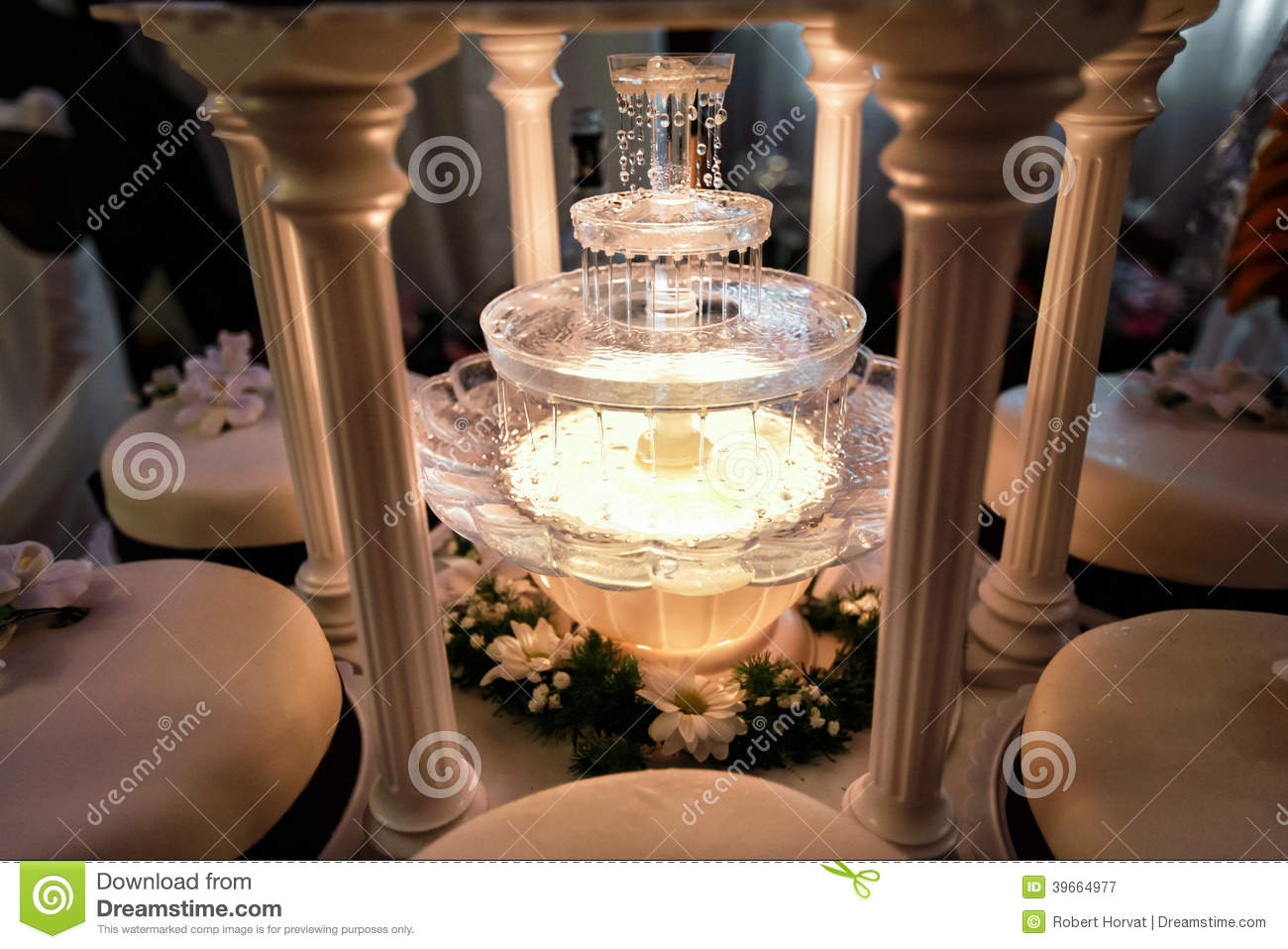 Royalty Free Stock Photo. Download Table Decoration Of Champagne Fountain  In Light ...