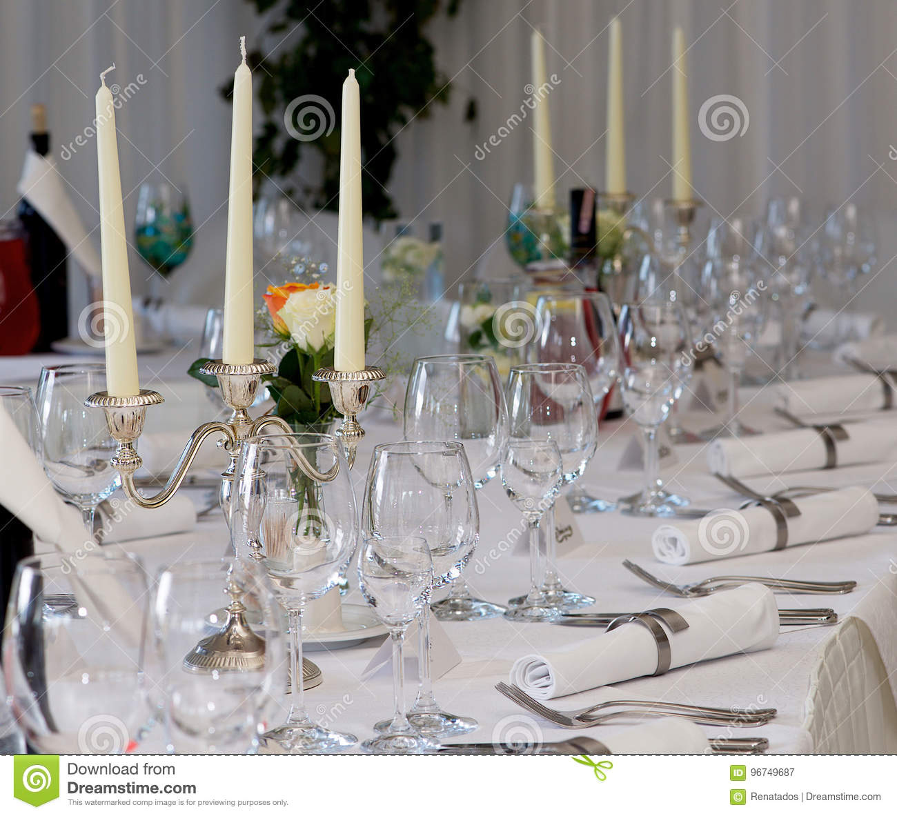 Table Decoration With Glasses Plates On Wedding Day Wedding Table