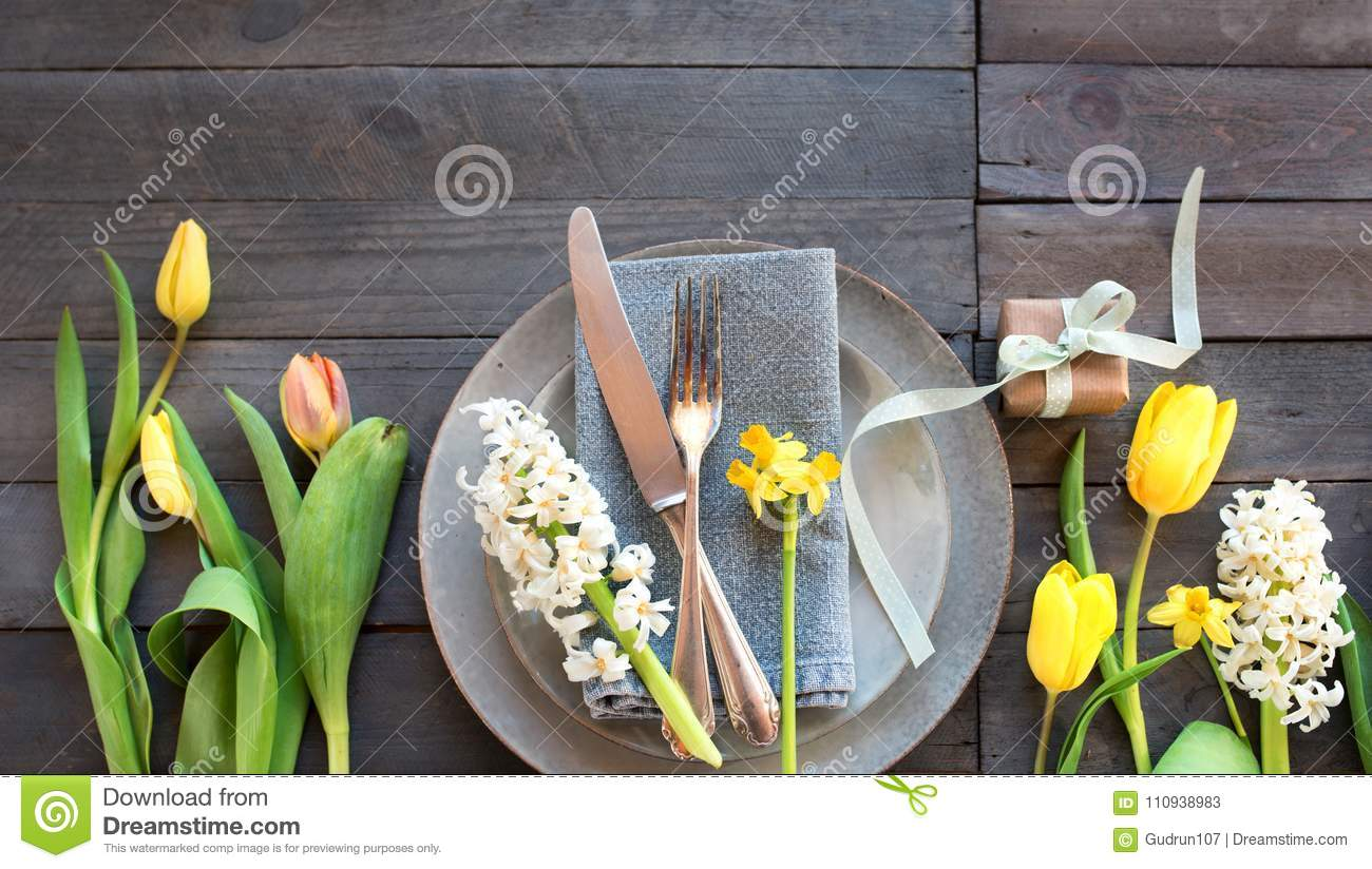 Table Decoration For Mothers Day Stock Image Image Of Cutlery