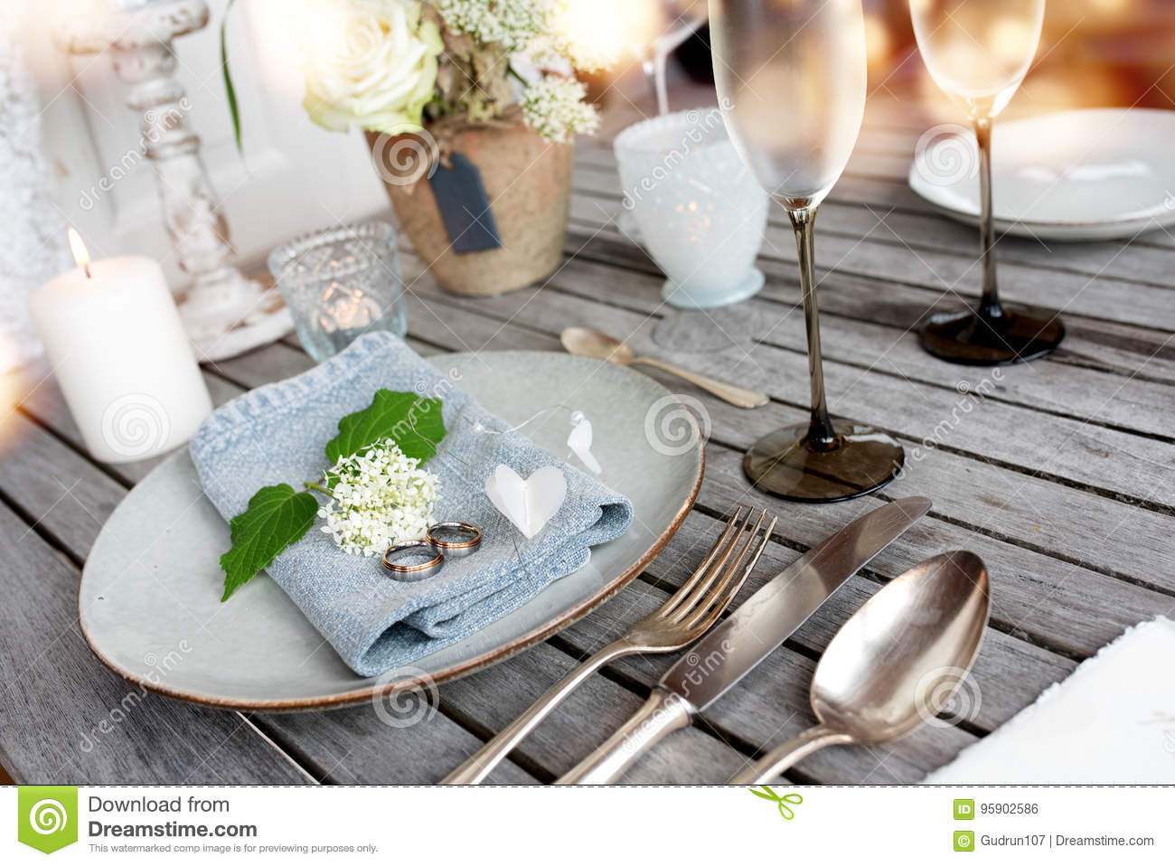 Table Decoration In Vintage Style For A Wedding Dinner Stock Photo