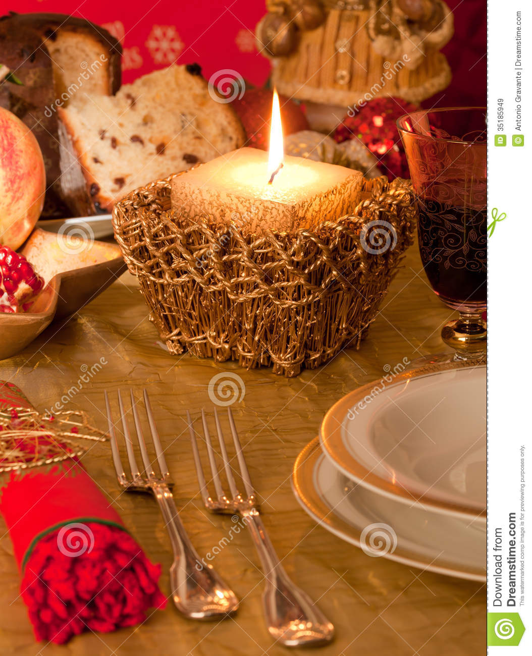 Table With Decorations For Christmas Dinner Stock Image