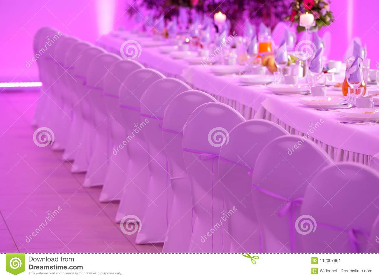 Table Dinner Set For Event Party Or Wedding Reception Stock