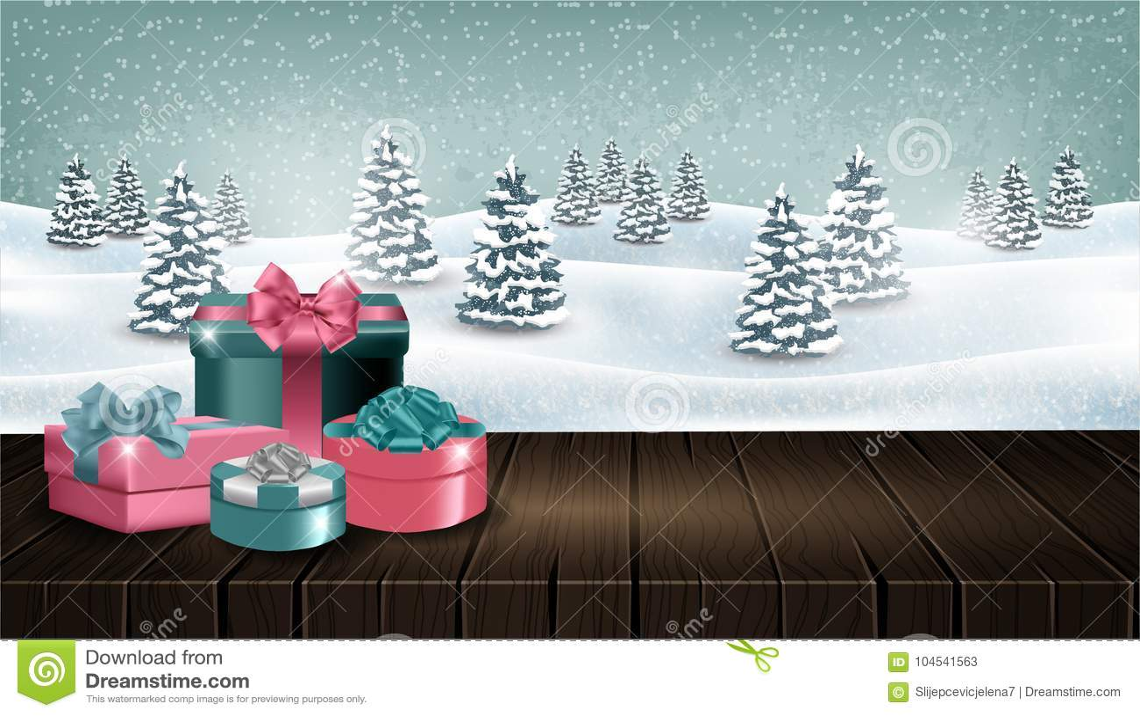 Table en bois avec des giftboxes devant le paysage de forêt d hiver