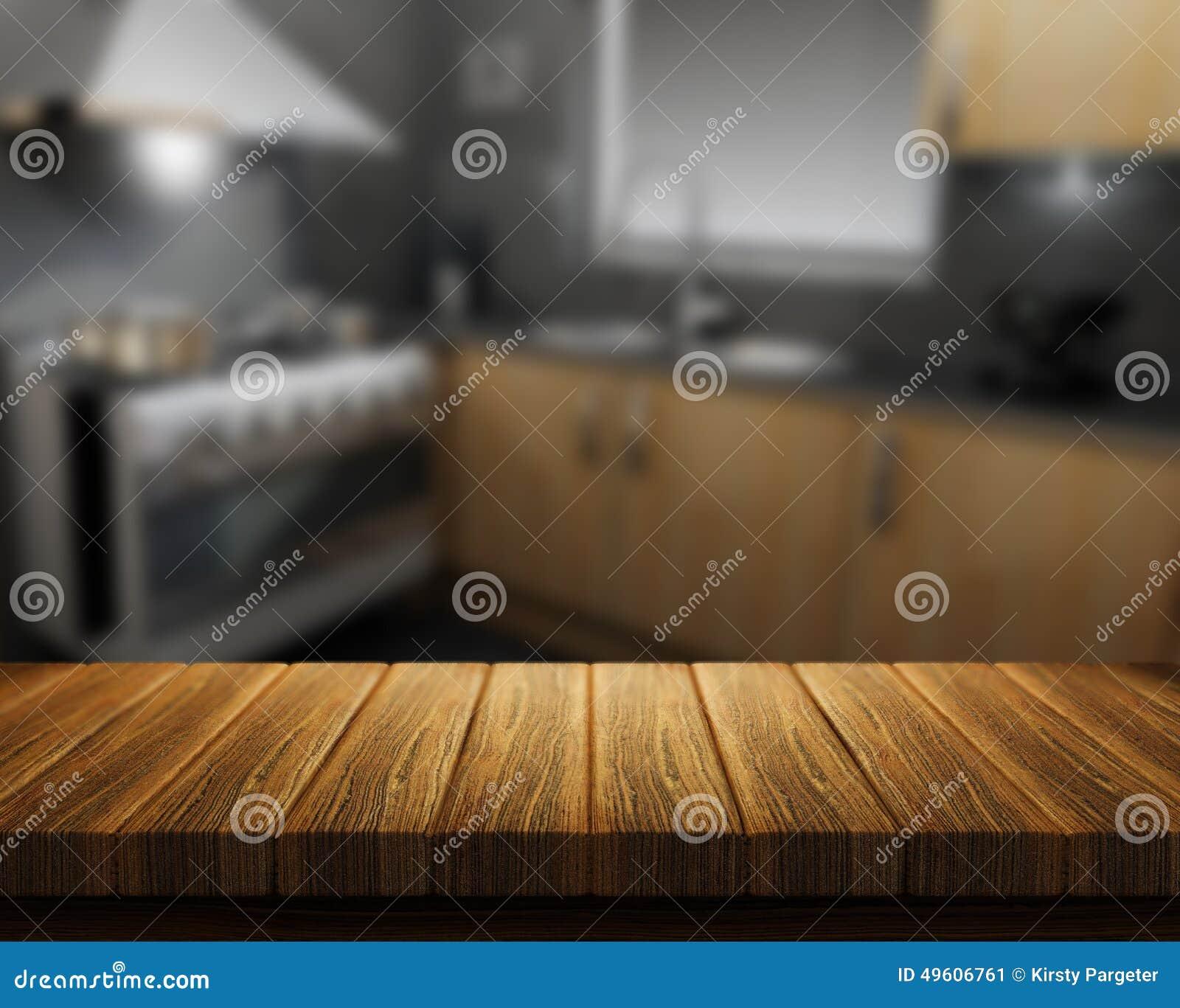 Table En Bois Avec La Cuisine à Larrière Plan Illustration Stock
