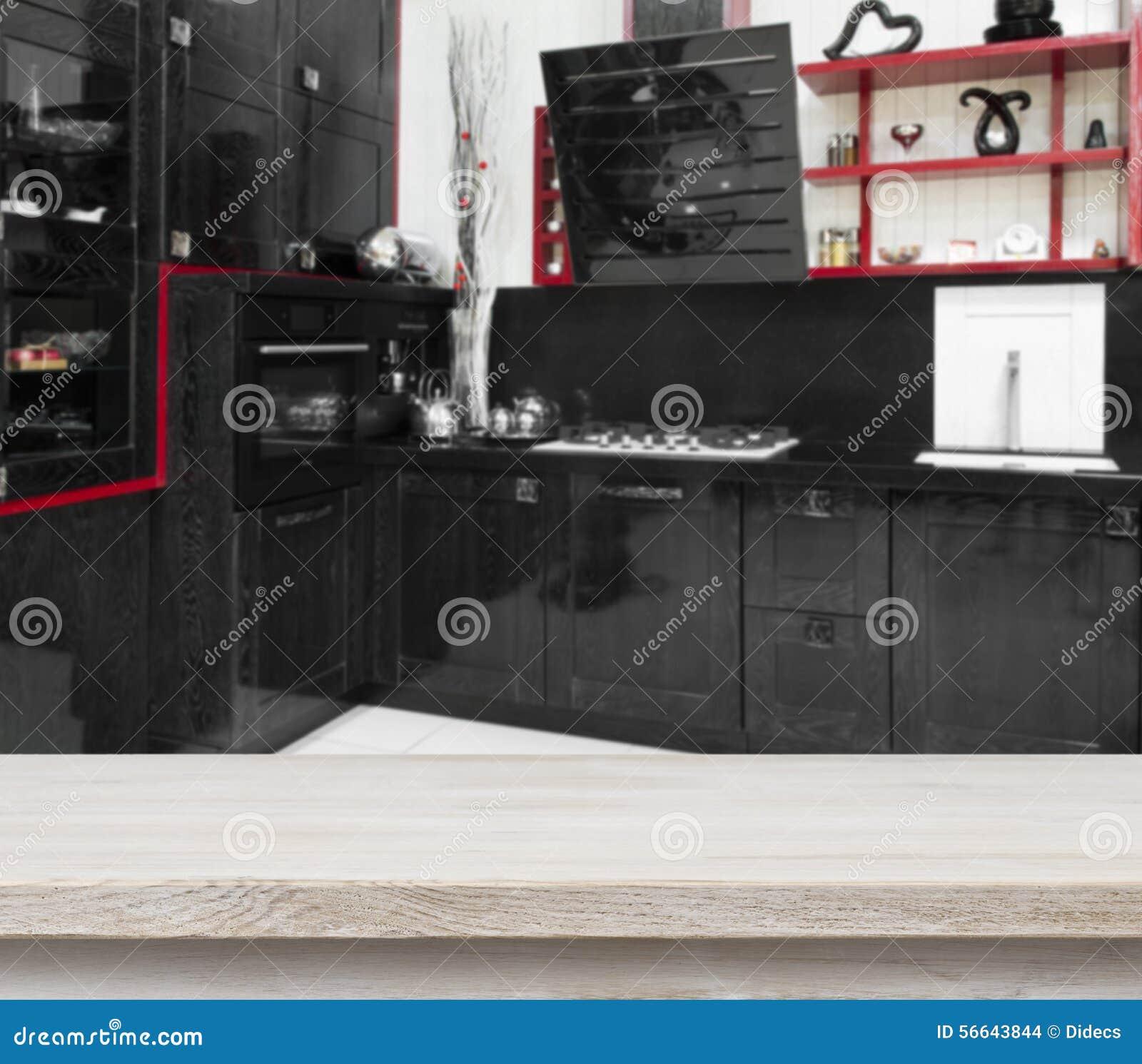 Table En Bois Blanchie Sur Le Fond Noir Defocused D'intérieur De ...