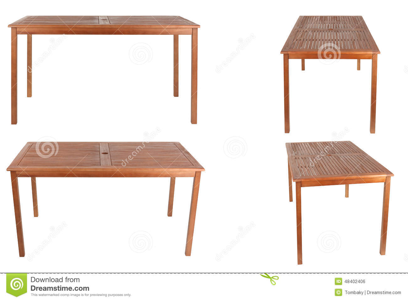 Table en bois d isolement sur le fond blanc