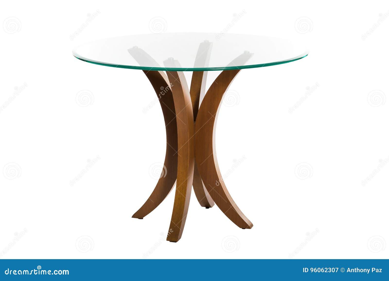 Table en bois et verre d isolement
