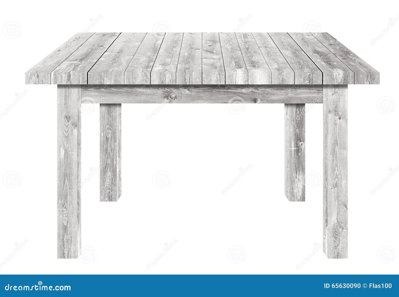 Table en bois grise sur le fond blanc d isolement