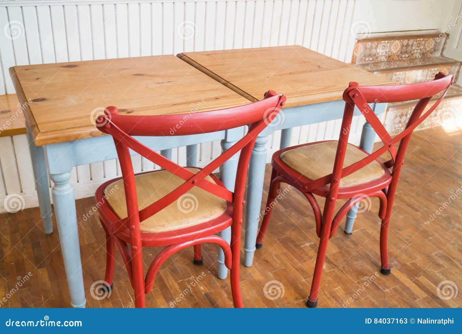Table Et Chaise De Cuisine En Bois De Vintage Image Stock Image