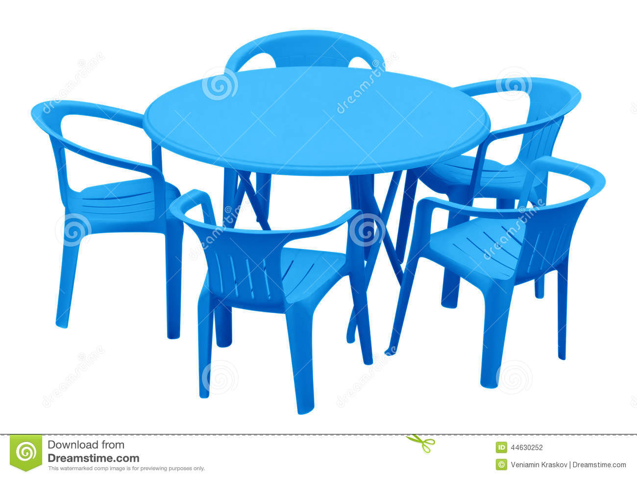 table et chaises en plastique bleu photo stock image 44630252. Black Bedroom Furniture Sets. Home Design Ideas